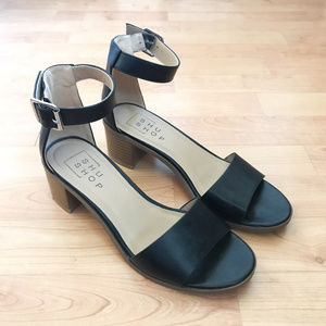 Chunky Black Leather Block Heel Ankle Strap Sandal